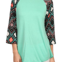 Mint with Coral Aztec Sleeves