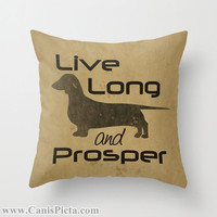Star Trek Throw Pillow Dachshund Live Long and Prosper Graphic Print 16x16 Cover Couch Art Tan Beige Smooth Long Wire Dog Trekkie Spock Geek