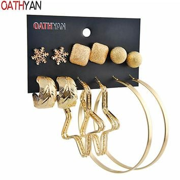 OATHYAN 6 Pairs/Set Fashion Women's Round Star Big Hoop Earrings Sets Mix Gold Color Alloy Square Ball Leaf Circle Earrings Gift