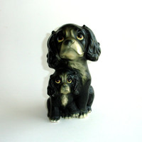 Vintage Black Dog Figurine, Hand Painted Ceramic Cocker Spaniel Statue, Signed ESD Japan, Mother Dog and Puppy, Dogs, Puppies, Collectible