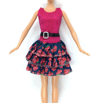 NK 2016 Newest Doll Dress Beautiful Handmade Party ClothesTop Fashion Dress For Barbie Noble Doll Best Child Girls'Gift 002A