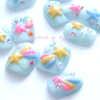Fairy kei, 3D nails, pastel color, shooting star, Japanese nail art