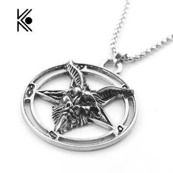 High Quality Inverted Pentagram Goat Pan God Skull Head Pendant Necklace Satanism Occult Metal vintage star statement Jewelry