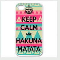 Apple iPhone 4 4G 4S 5 Case Cover White Keep Calm and Hakuna Matata Aztec Design Vintage Retro