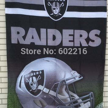 Oakland Raiders Helmet Large Outdoor Flag 3ft x 5ft Football Hockey Baseball USA Flag