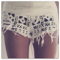 White and black tribal aztec print low rise by RepurposedApparel