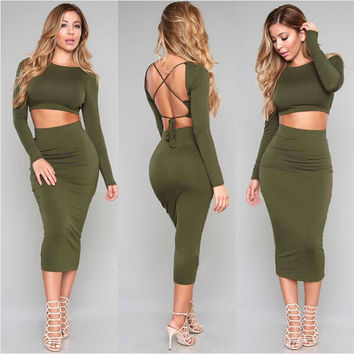 Green Two Piece Backless Dress