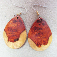 Rare Amboyna Burl Exotic Wood Dangle Earrings, surgical steel wires ExoticWoodButtonsAnd handcrafted ecofriendly