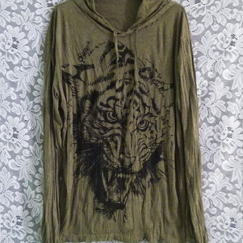 Tiger sweatshirt Olive green hood t shirt Size XL/XXL one size face bengal tiger tee wrinkle shirt/ forest jungle/ festival clothing