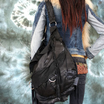 Black slouchy leather hobo bohemian rocker motorbike tribal raw bag fringe southwest western gothic native rock n roll bag sweet smoke metal