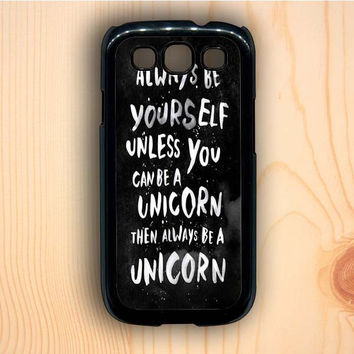 Dream colorful Unicorn Quote Black And White Design Samsung Galaxy S3 Case