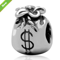 Fit Pandora charm Bracelet Original 925 Silver dollar bag Beads Charms diy Jewelry making Free Shipping