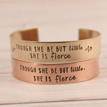 """""""Though she be but little, she is fierce"""" 1/2"""" Cuff  - Copper Shakespeare Quote Bracelet"""