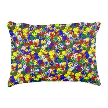 Primary Smiley Face Beads-RED-ACCENT PILLOW