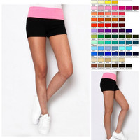 Color Block Stretch Athletic Yoga Shorts in 12 Colors