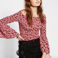 Floral Smocked Off The Shoulder Bell Sleeve Blouse