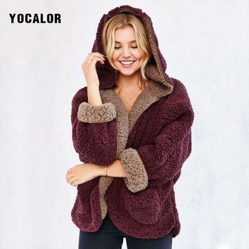 YOCALOR Wool Loose Sweater Bat Shirt Clothes Lamb Spring Coat Female Hooded Warm Short Fleece Jacket Women Basic Outerwear