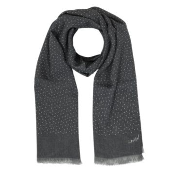 Lanvin Designer Men's Scarves Gray & White Polkadot Print Wool Men's Scarf