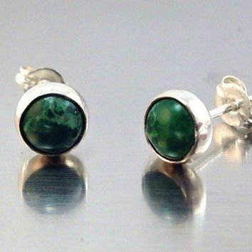 Malachite and Sterling Silver Earrings. Post Earrings, Stud Earrings, Bridesmaids Gifts, Free Shipping