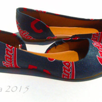 Cleveland Indians-MLB-Womens Flats-Baseball sport fans-summer shoes- spring flats-blue-red-gifts for her-