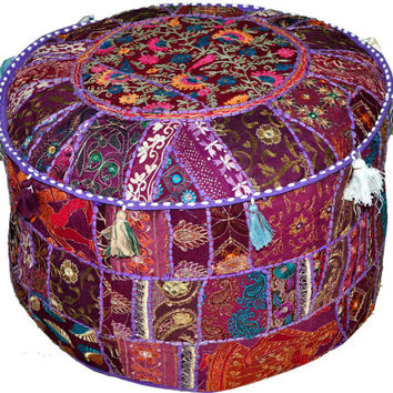 On Sale Purple Vintage Indian Ottoman Stool Cover Patchwork Footstool Foot Rest Decor Pouf textiles round Seating Ottoman Cover Pouf Pouffe