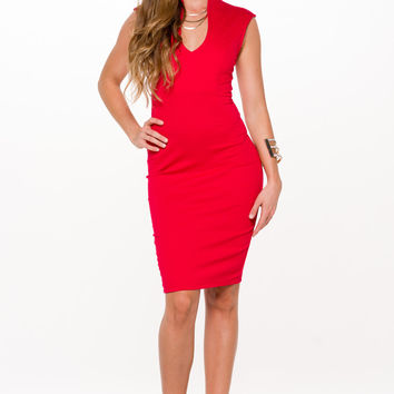 (aln) Drop shape neck midi red dress