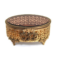 Antique Ormolu Jewelry Trinket Box Lover's Knot Roses Beveled Amber Glass Filigree Gilt Bronze Matson Circa 1940