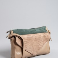 Pour la Victoire khaki and hunter green croc embossed leather