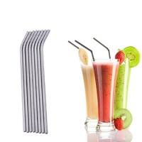 8 pcs Stainless Steel Drinking Straws Beverage Reusable Straws Set 3 Reusable Cleaning Brushes Kit Metal Straw Wine Accessories