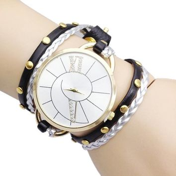 Big Dial Bracelet Hand Woven Ladies Watch
