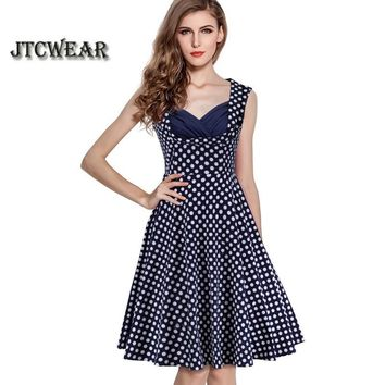 Summer Retro Polka Dot Patchwork V Neck Sleeveless Pinup Casual Wear to Prom Party Club A-Line Lady Swing Dress 114