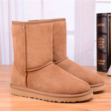 IVG High Quality Genuine Sheepskin Leather Australia ugs Women Snow Boots Mid-Calf Natural Fur Lady Boots Warm Wool Winter Shoes