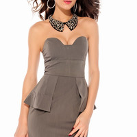 Strapless High Waisted Grey Peplum Dress with Molded Cups