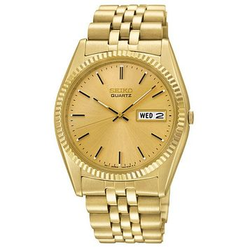 Seiko Mens Day/Date Dress Watch - Gold Tone