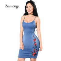 Ziamonga Sexy Lace Embroidery Denim Dress Women Elegant Bodycon Summer Dress Backless Party Short Dresses Casual Jeans Dress