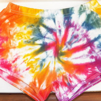 Rainbow Spiral Tie Dye Shorts, Rave clothing , Booty Shorts, Hipster, Hippie Clothing (CUSTOM COLORS AVAILABLE)