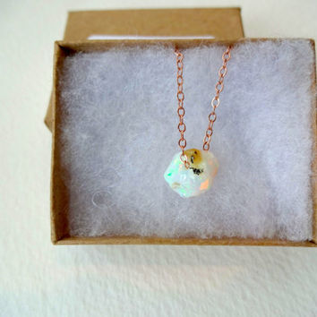 Large Rough Opal Pendant and 925 Sterling Silver; Oxidized Sterling Silver; Rose Gold Fill; 14k Gold Fill Chain Necklace - Valentine's Day