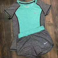 shosouvenir : Nike Women Fashion Print Short sleeve Top Shorts Pants Sweatpants Set Two-Piece Sportswear