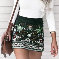 New fashion sexy corduroy embroidery ethnic style skirt female
