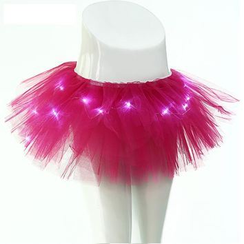 New Arrival Women Fashion Light Up LED Stage Dance Rave Mini Dresss Ladies Novelty Solid Tulle Ball Gown evening party dress
