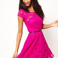 ASOS | ASOS Lace Skater Dress with Belt at ASOS