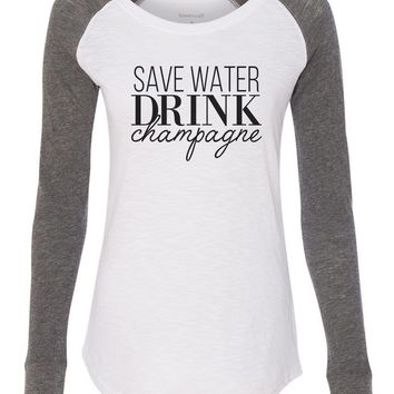 "Womens ""Save Water Drink Champagne"" Long Sleeve Elbow Patch Contrast Shirt"