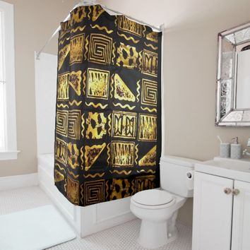 African Tribal Mud Cloth Graphic In Gold Shower Curtain