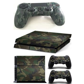 Camouflage Camo Silicone Rubber Soft sleeve Skin Grip Cover Case Protector+Vinyl pattern Skin Sticker For Playstation 4 PS4 PS 4
