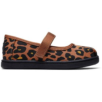 TOMS - Tiny Toms Mary Jane Toffee Cheepard Print Flats