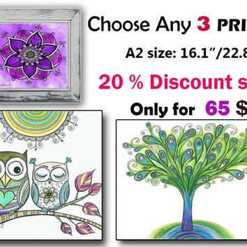 Kids Room Decor, OOAK Boho Drawing, Any 3 Three PRINTS, Christmas art gift, Owl Butterfly art painting, 3 Piece Nursery wall art decor