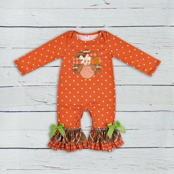 Thanksgiving Days Infant Clothing Baby Outfit Turkey Pattern Fall Jumpsuits Newborn Cotton Girl Boutique Clothing GPF807-207