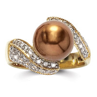 Goldplated-over-Sterling Silver Simulated Chocolate Pearl and CZ Ring