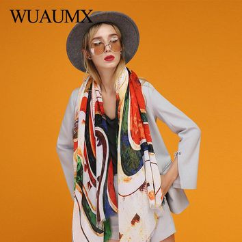 Wuaumx Retro Spring Scarf Women Rainbow Scarfs Autumn Ladies Scarves Thin Bandana Female Shawls and Wraps echarpes foulard femme