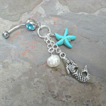 Mermaid Belly Button Jewelry Ring with Turquoise Starfish and Pearl